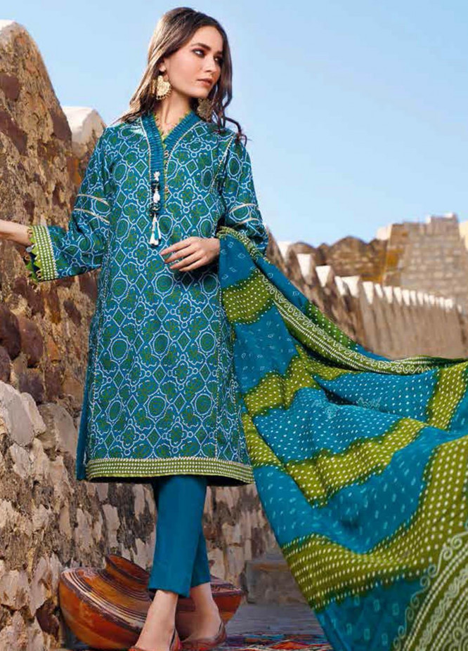 Gul Ahmed Printed Lawn Suits Unstitched 3 Piece GA21BL CL1225B - Summer Collection