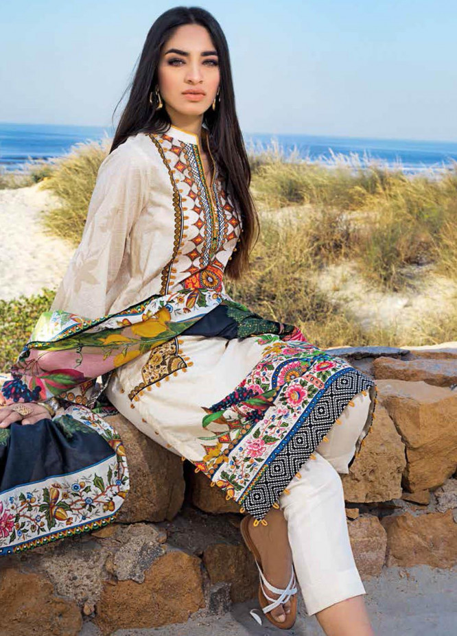 Gul Ahmed Printed Lawn Suits Unstitched 3 Piece GA21BL CL1250B - Summer Collection