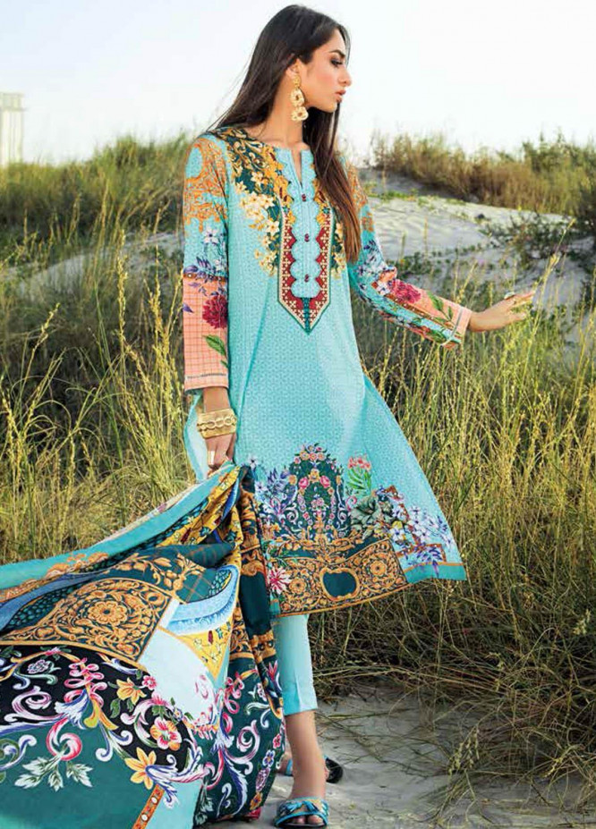 Gul Ahmed Printed Lawn Suits Unstitched 3 Piece GA21BL CL1251A - Summer Collection