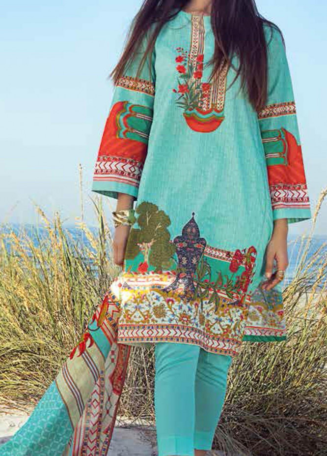 Gul Ahmed Printed Lawn Suits Unstitched 3 Piece GA21BL CL1252B - Summer Collection