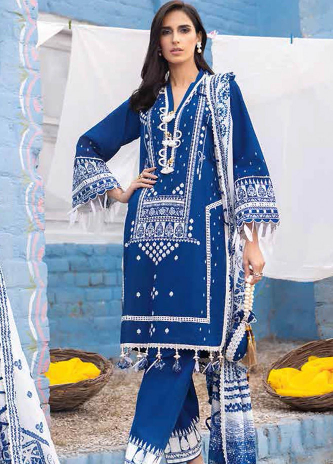 Gul Ahmed Printed Lawn Suits Unstitched 3 Piece GA21BL CL1254 - Summer Collection