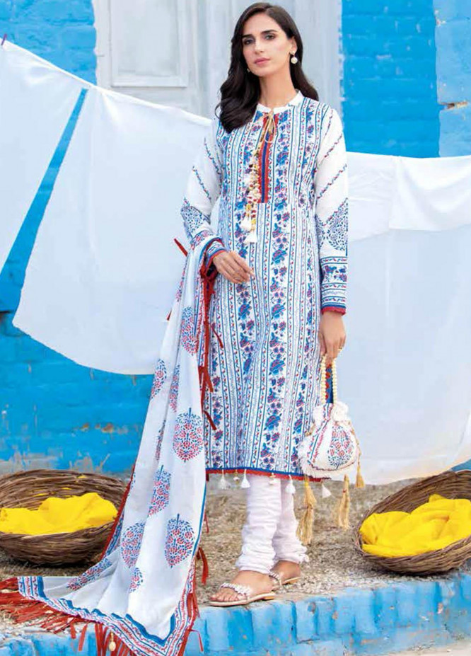 Gul Ahmed Printed Lawn Suits Unstitched 3 Piece GA21BL CL1256 - Summer Collection