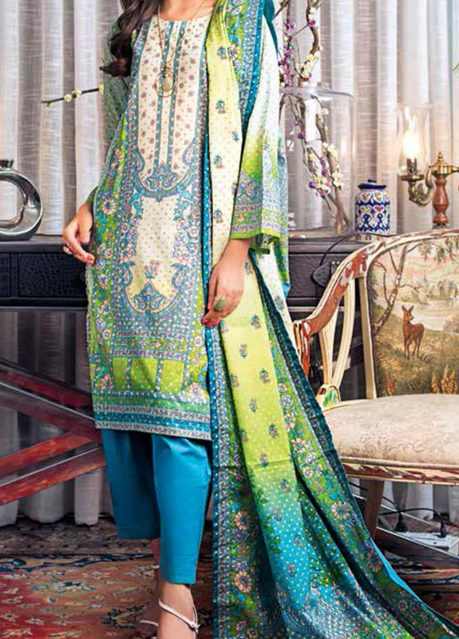 Gul Ahmed Printed Lawn Suits Unstitched 3 Piece GA21BL CL1262 - Summer Collection