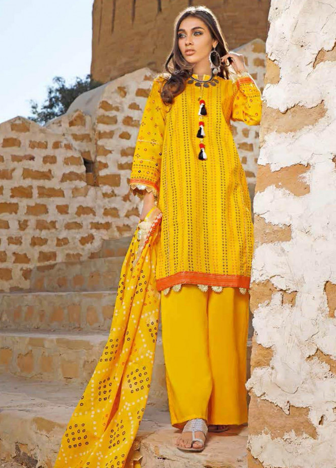 Gul Ahmed Printed Lawn Suits Unstitched 3 Piece GA21BL CL1273B - Summer Collection