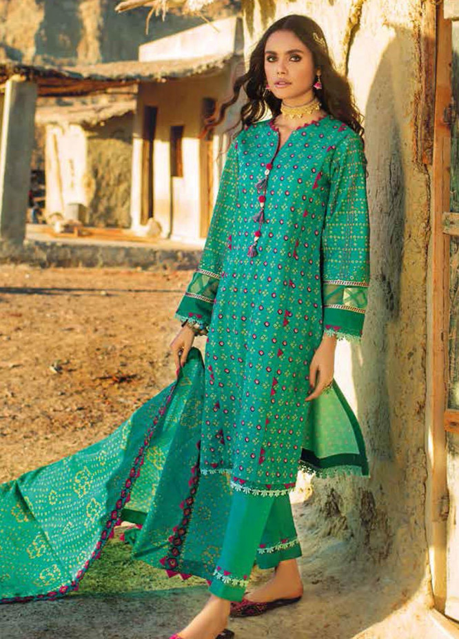 Gul Ahmed Printed Lawn Suits Unstitched 3 Piece GA21BL CL1282B - Summer Collection