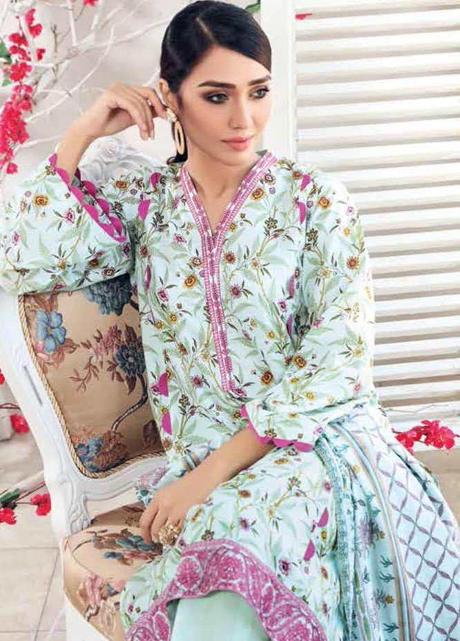 Gul Ahmed Embroidered Lawn Suits Unstitched 3 Piece GA21BL CL893 - Summer Collection