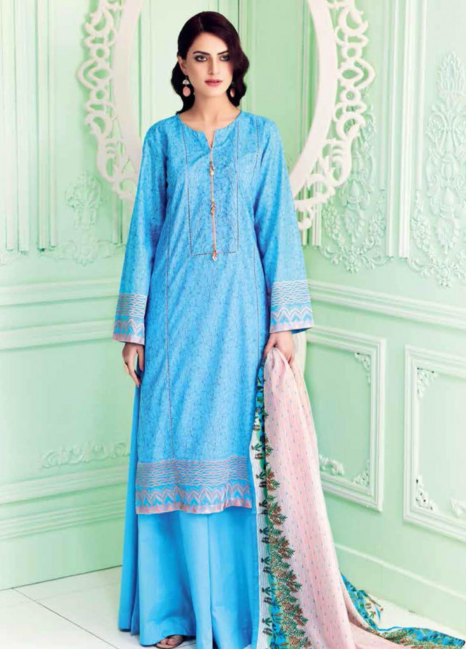 Gul Ahmed Embroidered Lawn Suits Unstitched 3 Piece GA21BL CL896 - Summer Collection