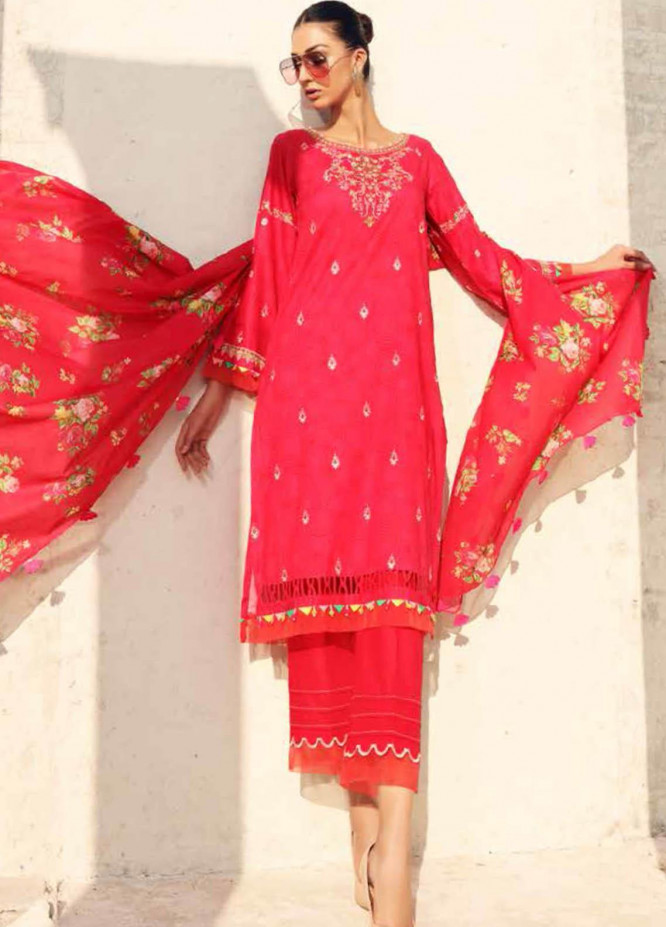 Gul Ahmed Embroidered Lawn Suits Unstitched 3 Piece GA21BL CL902 - Summer Collection