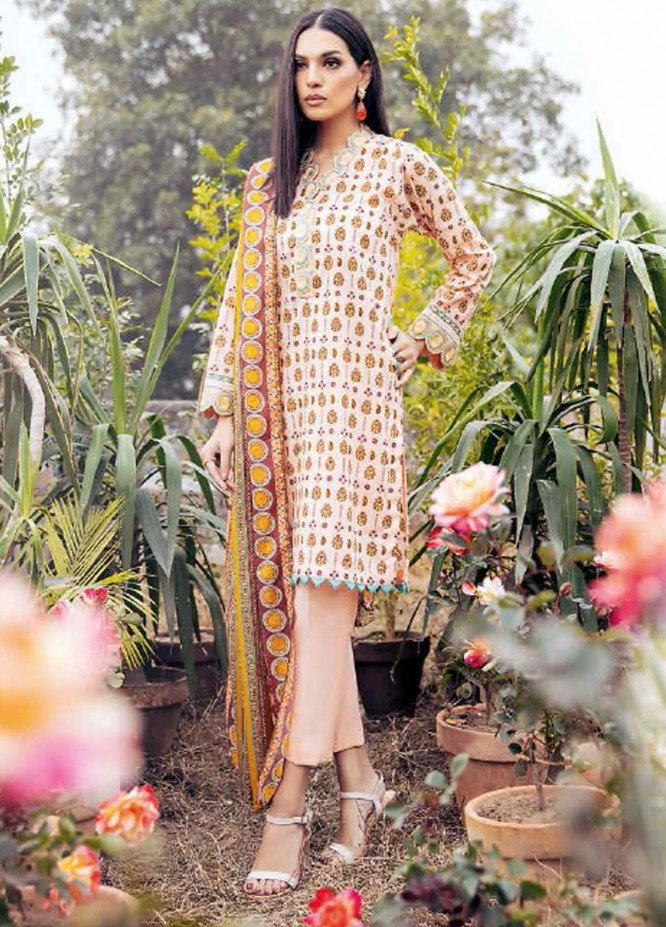 Gul Ahmed Embroidered Lawn Suits Unstitched 3 Piece GA21BL CL909 - Summer Collection