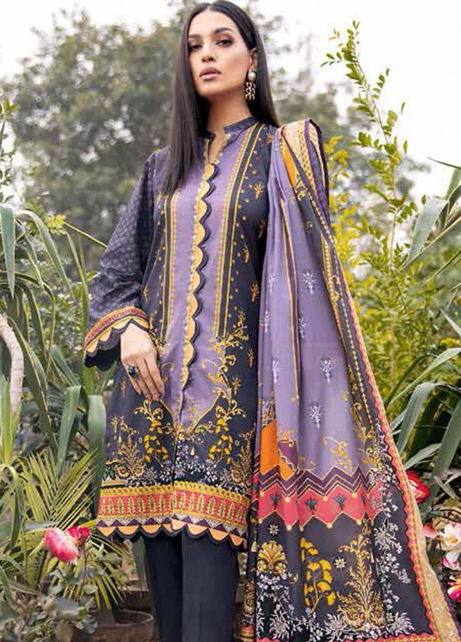 Gul Ahmed Embroidered Lawn Suits Unstitched 3 Piece GA21BL CL920 - Summer Collection