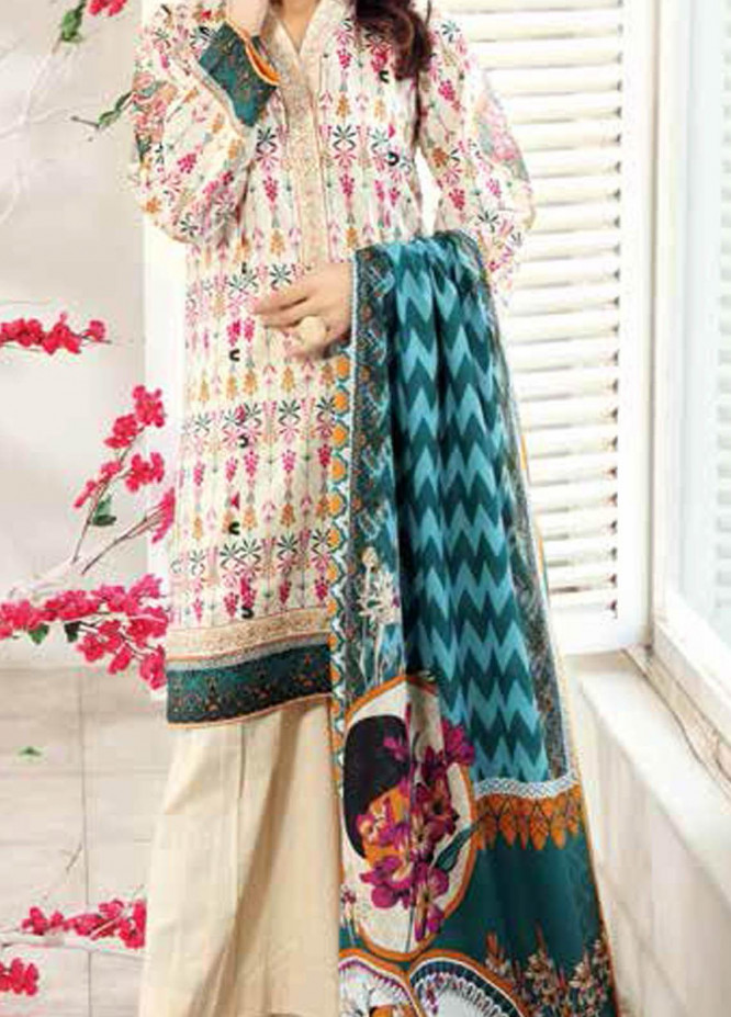 Gul Ahmed Embroidered Lawn Suits Unstitched 3 Piece GA21BL CL950 - Summer Collection