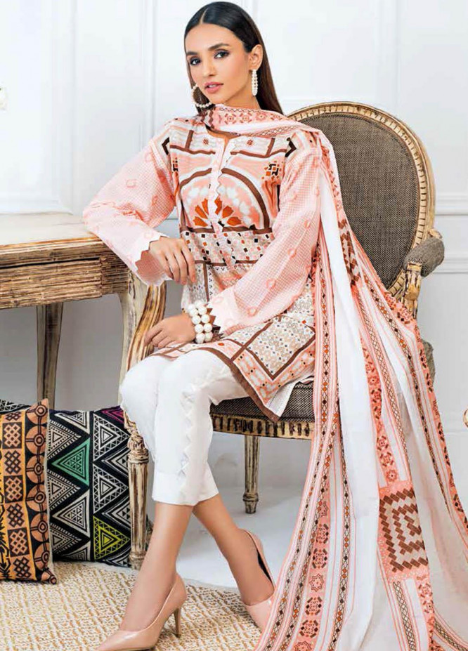 Gul Ahmed Printed Lawn Suits Unstitched 3 Piece GA21BL CL983B - Summer Collection