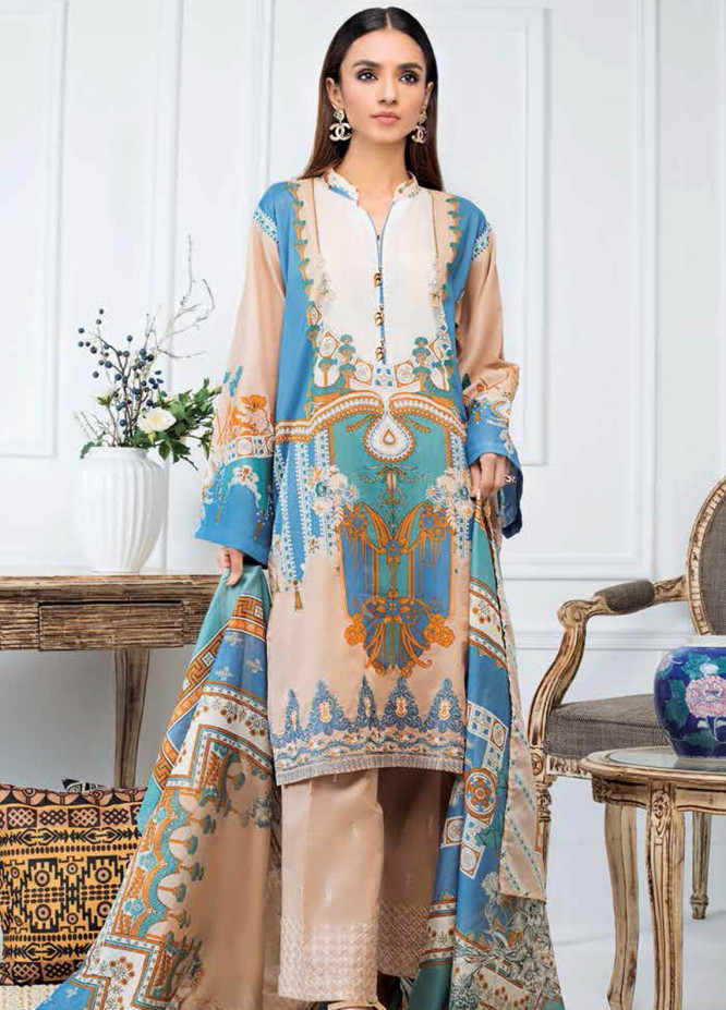 Gul Ahmed Embroidered Lawn Suits Unstitched 3 Piece GA21BL CL998 - Summer Collection