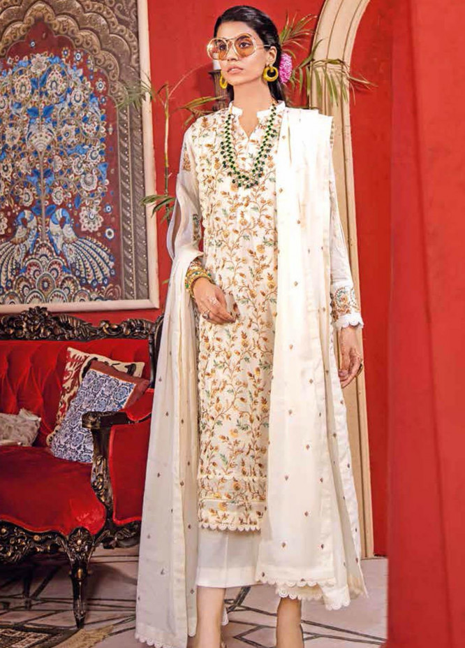 Gul Ahmed Embroidered Lawn Suits Unstitched 3 Piece GA21BL FE319 - Summer Collection