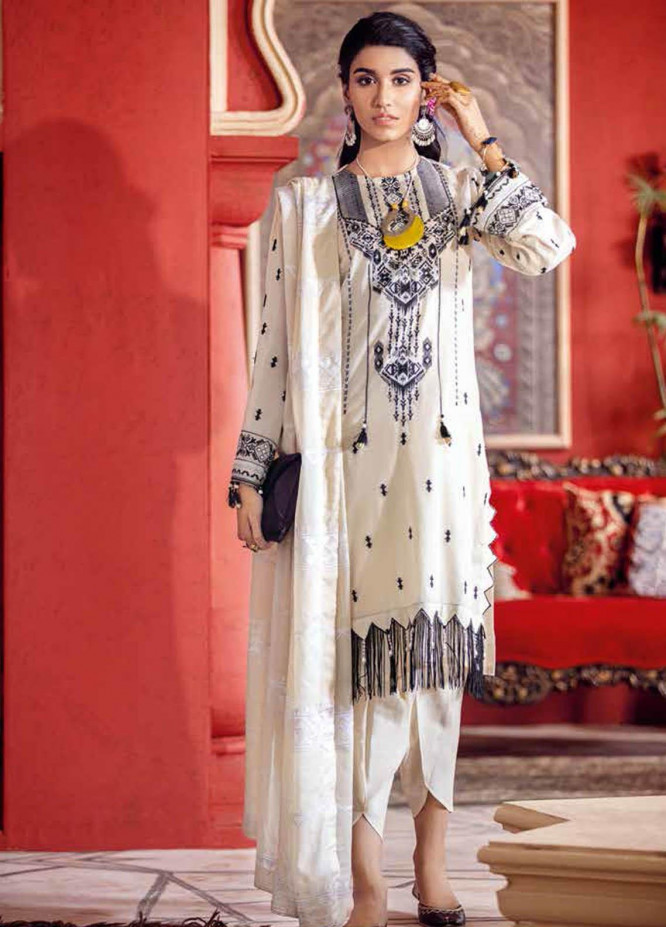Gul Ahmed Embroidered Lawn Suits Unstitched 3 Piece GA21BL FE320 - Summer Collection