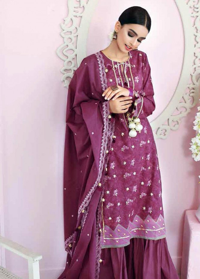 Gul Ahmed Embroidered Lawn Suits Unstitched 3 Piece GA21BL FS04 - Summer Collection