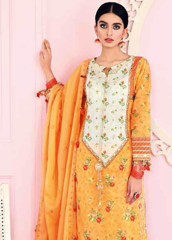 Gul Ahmed Embroidered Lawn Suits Unstitched 3 Piece GA21BL FS05 - Summer Collection
