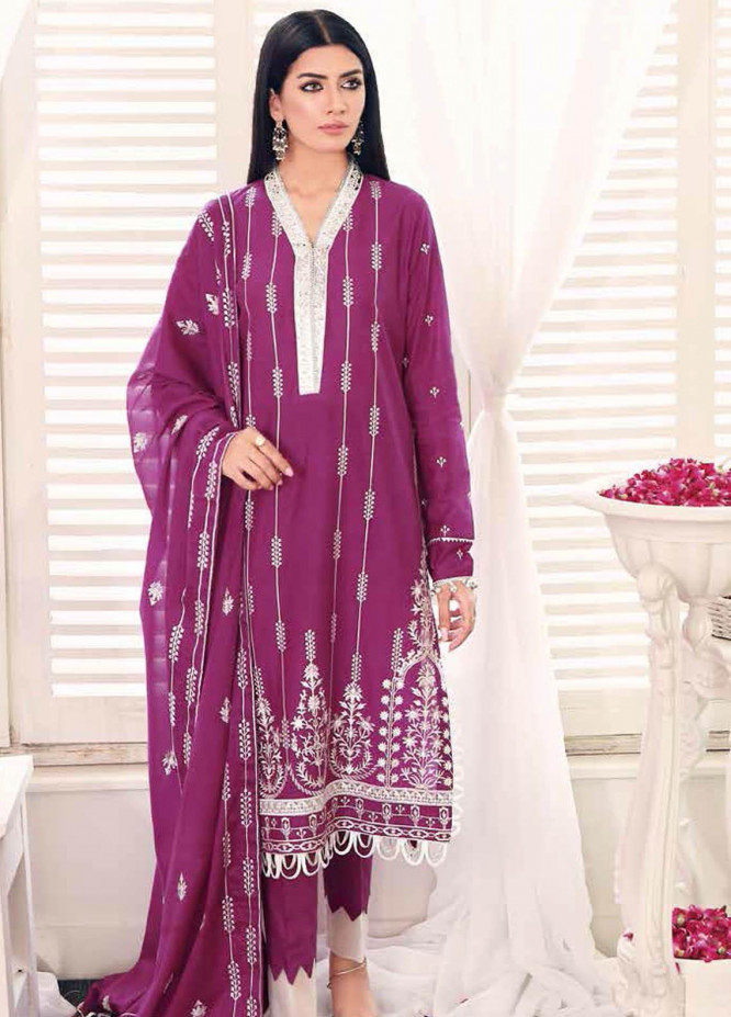 Gul Ahmed Embroidered Lawn Suits Unstitched 3 Piece GA21BL FS18 - Summer Collection