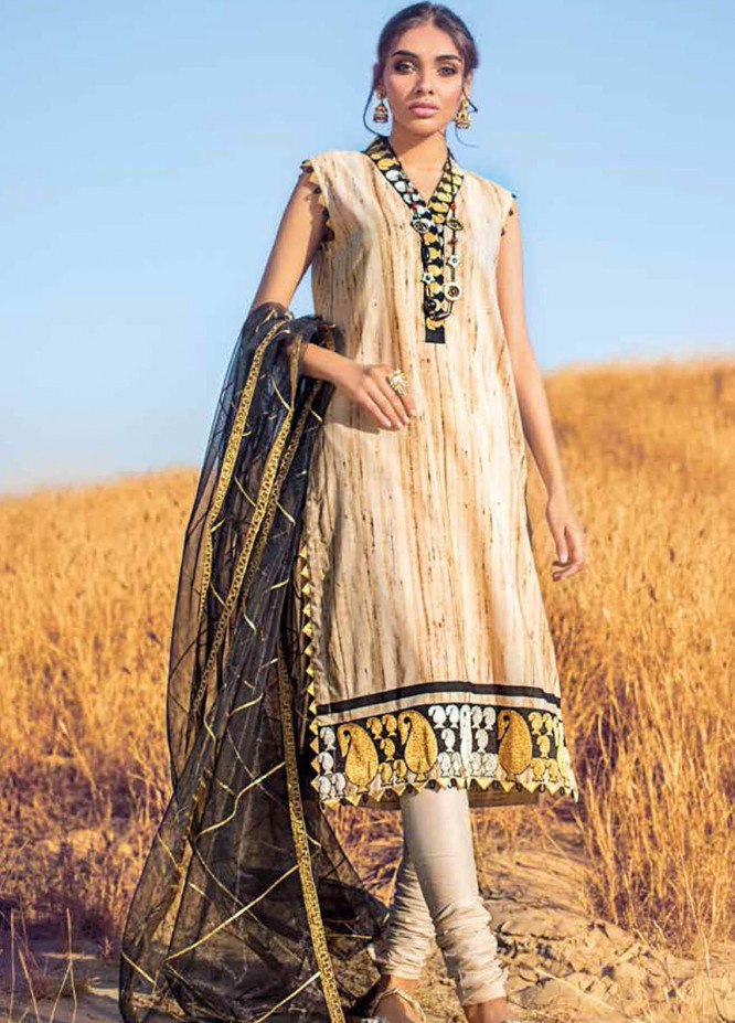 Gul Ahmed Embroidered Lawn Suits Unstitched 3 Piece GA21BL FS23 - Summer Collection
