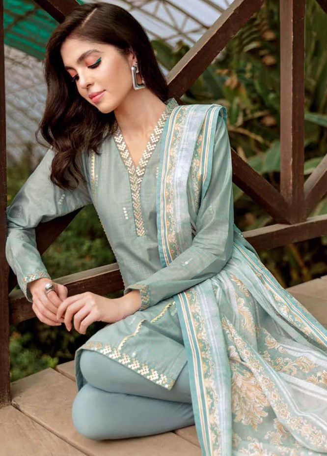 Gul Ahmed Embroidered Lawn Suits Unstitched 3 Piece GA21BL SP42 - Summer Collection