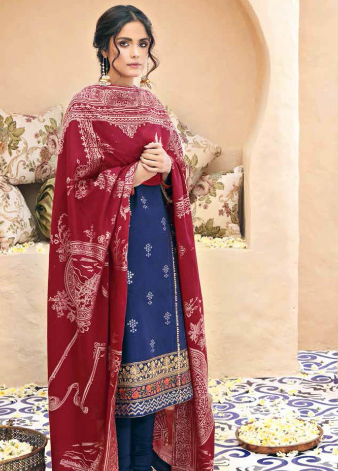 Gul Ahmed Embroidered Lawn Suits Unstitched 3 Piece GA21BL SP56 - Summer Collection
