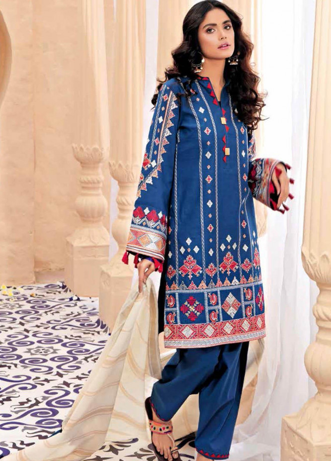 Gul Ahmed Embroidered Lawn Suits Unstitched 3 Piece GA21BL SP62 - Summer Collection