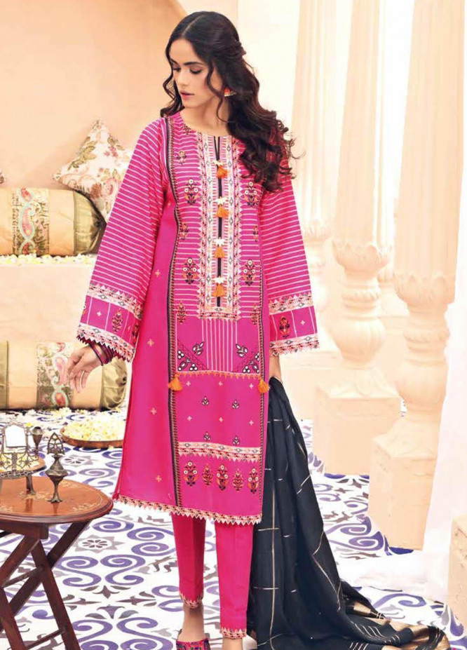 Gul Ahmed Embroidered Lawn Suits Unstitched 3 Piece GA21BL SP63 - Summer Collection