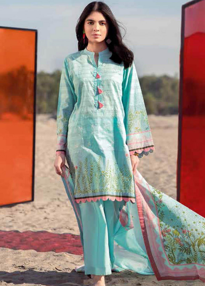 Gul Ahmed Embroidered Lawn Suits Unstitched 2 Piece GA21BL TL296 - Summer Collection