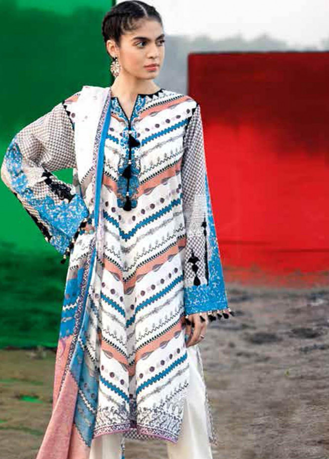 Gul Ahmed Embroidered Lawn Suits Unstitched 2 Piece GA21BL TL302B - Summer Collection