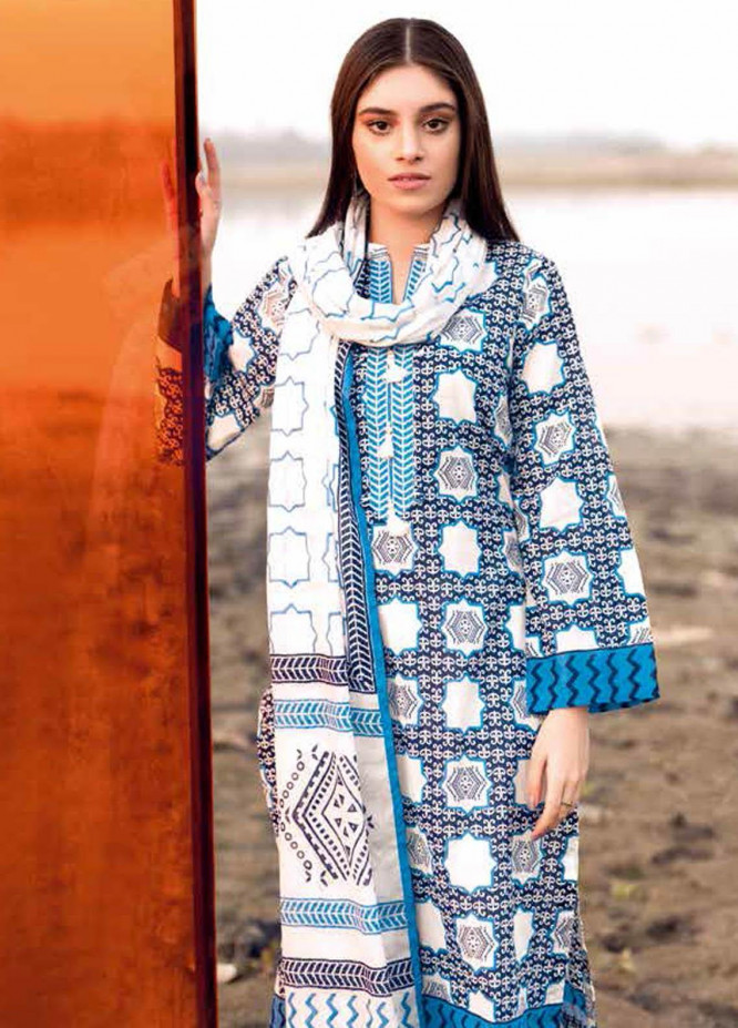 Gul Ahmed Printed Lawn Suits Unstitched 2 Piece GA21BL TL303B - Summer Collection