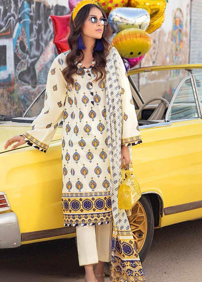 Gul Ahmed Printed Lawn Suits Unstitched 2 Piece GA21BL TL329A - Summer Collection