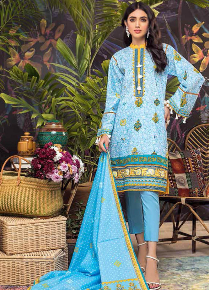 Gul Ahmed Embroidered Lawn Suits Unstitched 2 Piece GA21BL TL331 - Summer Collection