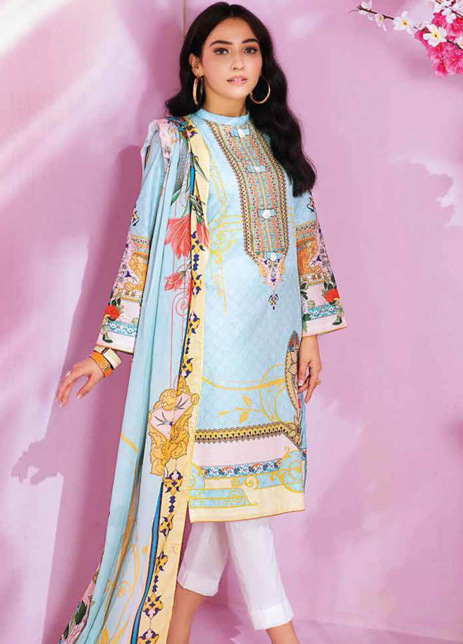 Gul Ahmed Printed Lawn Suits Unstitched 2 Piece GA21BL TL342B - Summer Collection