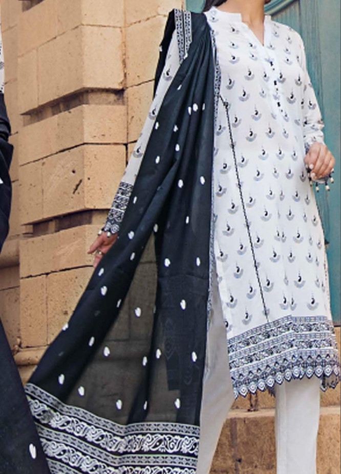 Black & White By Gul Ahmed Printed Lawn Suits Unstitched 3 Piece GA21BW B12003 - Black & White Collection