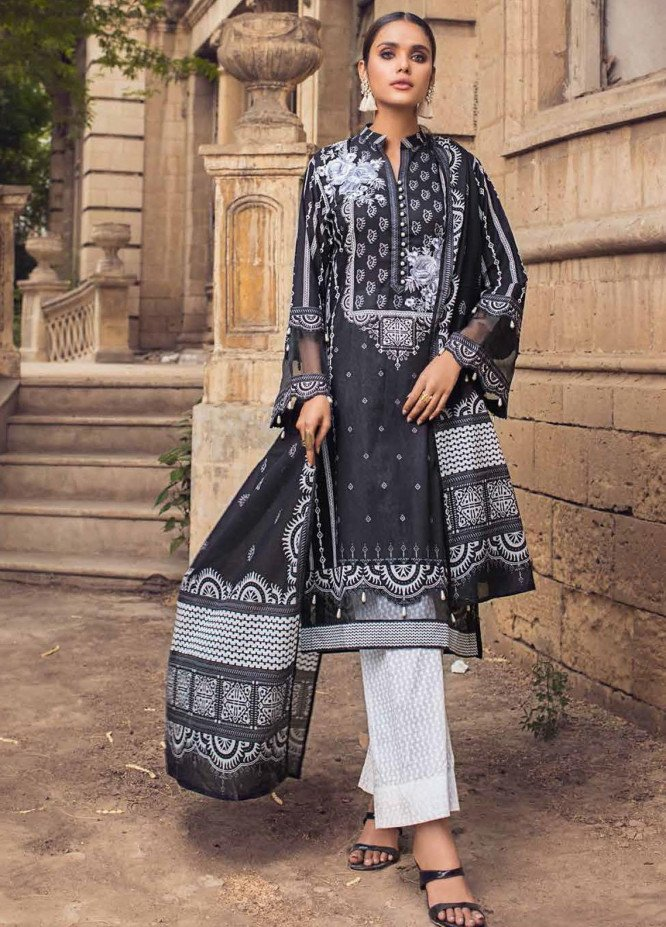 Black & White By Gul Ahmed Embroidered Lawn Suits Unstitched 3 Piece GA21BW B12004 - Black & White Collection