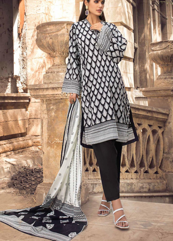 Black & White By Gul Ahmed Printed Lawn Suits Unstitched 3 Piece GA21BW B12007 - Black & White Collection