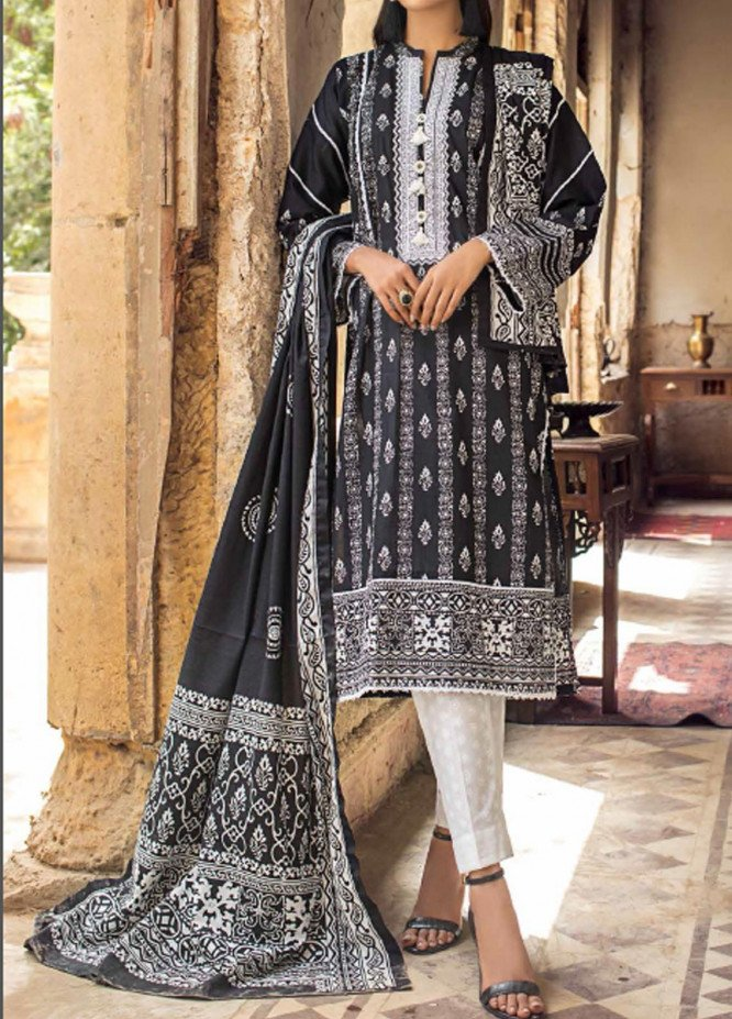 Black & White By Gul Ahmed Embroidered Lawn Suits Unstitched 3 Piece GA21BW B12010 - Black & White Collection