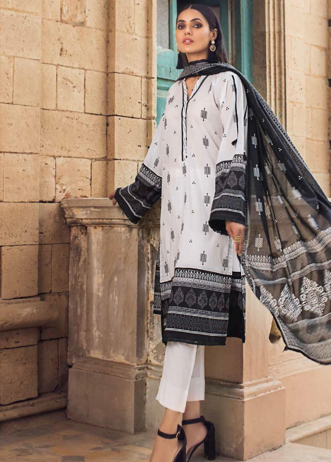 Black & White By Gul Ahmed Printed Lawn Suits Unstitched 3 Piece GA21BW B12011 - Black & White Collection