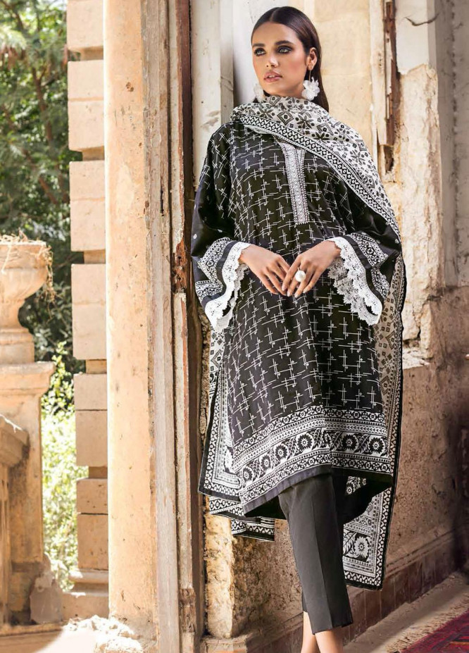 Black & White By Gul Ahmed Embroidered Lawn Suits Unstitched 3 Piece GA21BW B12013 - Black & White Collection