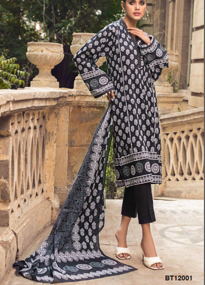 Black & White By Gul Ahmed Printed Lawn Suits Unstitched 2 Piece GA21BW BT12001 - Black & White Collection
