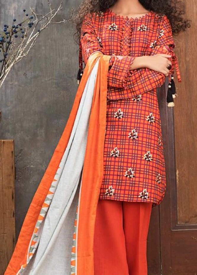 Check On Trend by Gul Ahmed Embroidered Khaddar Unstitched 3 Piece Suit GA20CT K-91 - Winter Collection