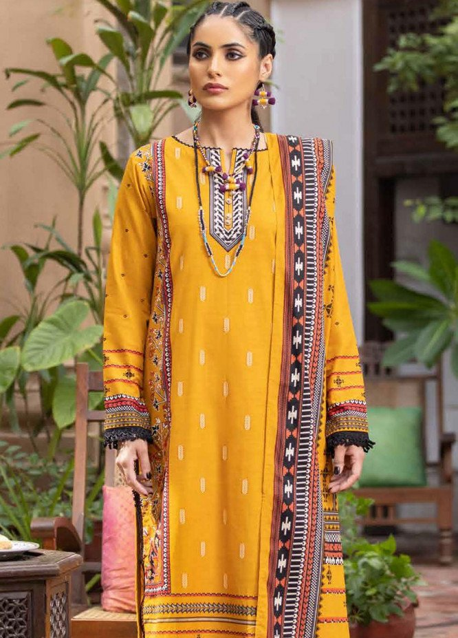 Gul Ahmed Printed Khaddar Suits Unstitched 3 Piece GA21WK K-12002 - Winter Collection