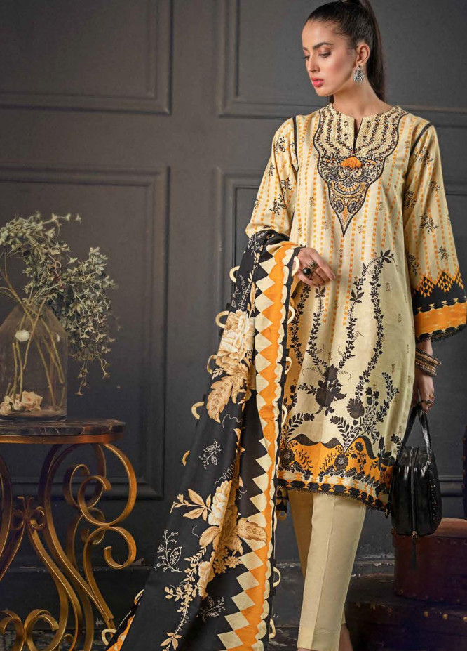 Gul Ahmed Embroidered Khaddar Suits Unstitched 3 Piece GA21WK K-12016 - Winter Collection