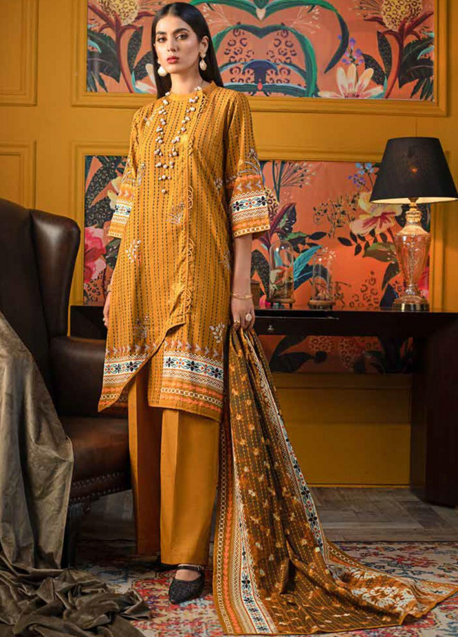 Gul Ahmed Printed Khaddar Suits Unstitched 3 Piece GA21WK K-12038A - Winter Collection