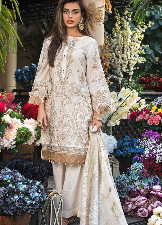 Gul Ahmed Embroidered Lawn Suits Unstitched 3 Piece GA21FL 12053 Roshanara - Luxury Festive Collection
