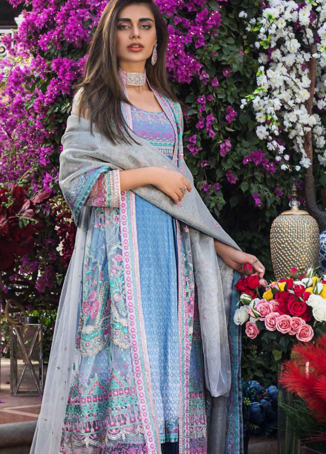 Gul Ahmed Embroidered Net Suits Unstitched 3 Piece GA21FL 12063 Mahrukh - Luxury Festive Collection