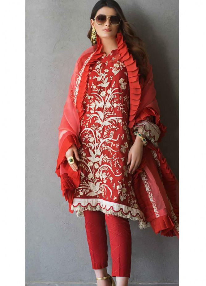 Gul Ahmed Embroidered Net Suits Unstitched 3 Piece GA21FL 12220 Jasmin - Luxury Festive Collection