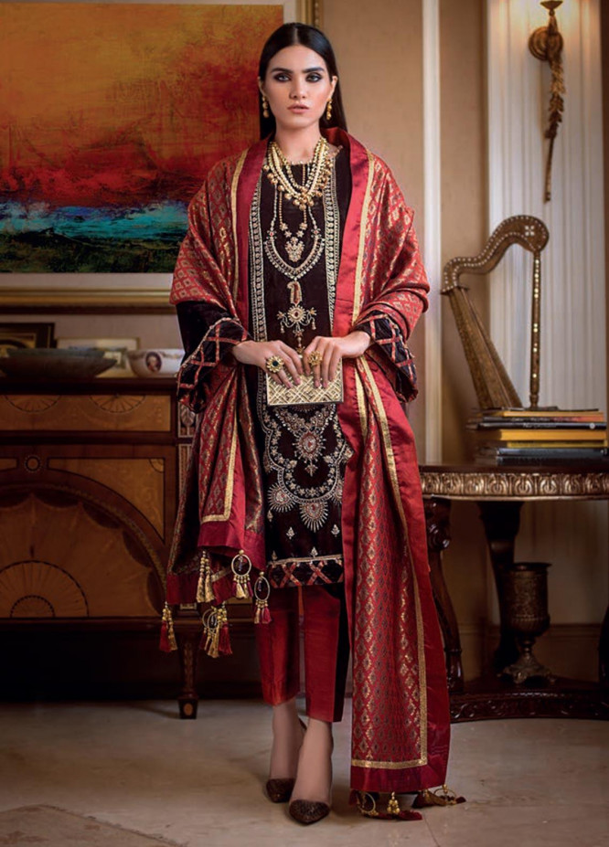 Gul Ahmed Embroidered Velvet Unstitched 3 Piece Suit GA19NC VLW 20 ZARDOZI - Winter Collection