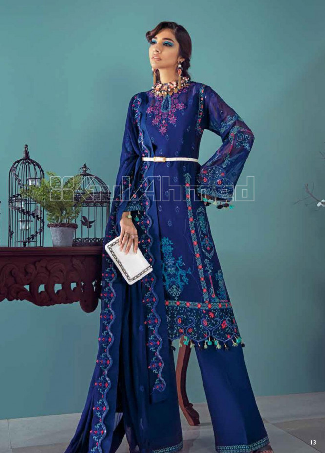 Gul Ahmed Embroidered Chiffon Unstitched 3 Piece Suit GA20PL LE-18 - Spring / Summer Collection