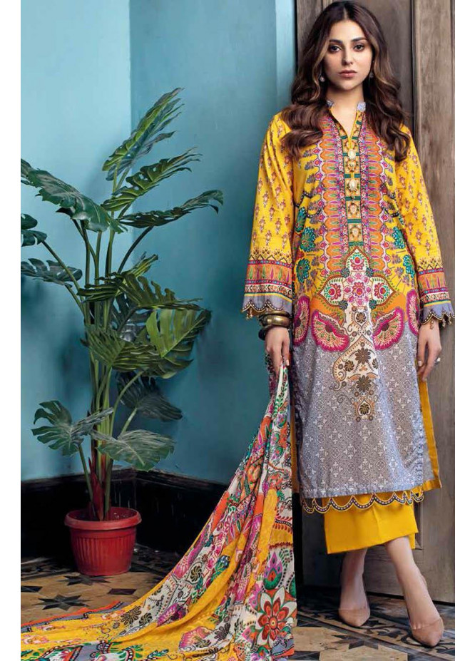 Gul Ahmed Printed Leno Suits Unstitched 3 Piece GA21S BM 169 - Summer Collection